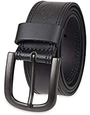 Dickies mens 100% Leather Jeans Belt With Stitch Design and Prong Buckle