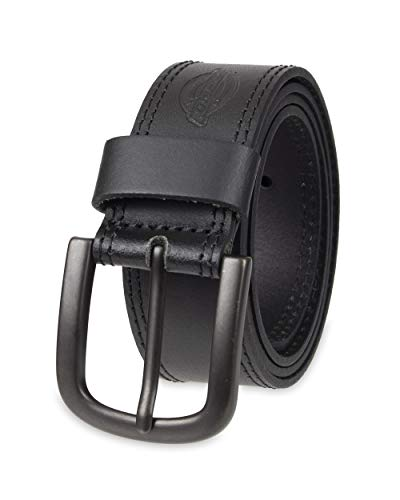 Dickies 100% Leather Jeans Belt with Stitch Design and Prong Buckle, Black,36