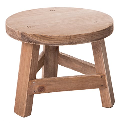 Red Co. Mini Wooden Stool Display Stand, Potted Plant Table, 7-inch
