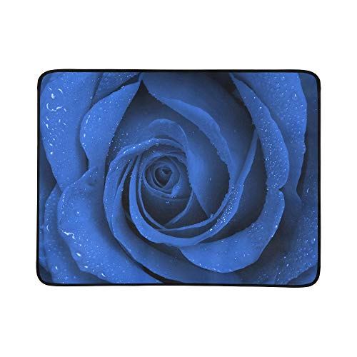 YSWPNA Close Up Beautiful Dark Blue Rose with Water Drop Pattern Portable and Foldable Blanket Mat 60x78 Inch Handy Mat for Camping Picnic Beach Indoor Outdoor Travel