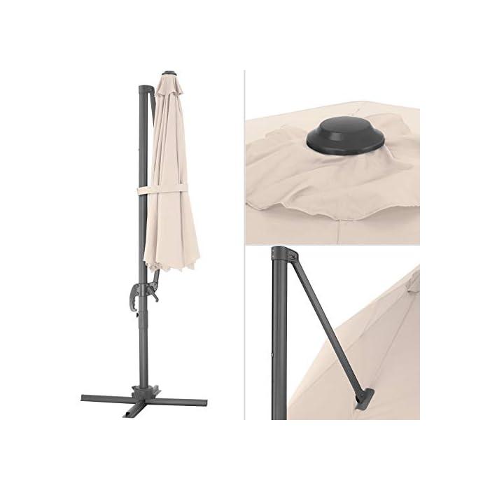 41GzplZrAPL Acapara todas las miradas con la elegancia y el exquisito diseño del parasol ajustable de tectake // Medidas totales (largo x ancho x alto): aprox. 372 x 300 x 250 cm // Medidas plegado (largo x ancho x alto): aprox. 100 x 100 x 260 cm. Gracias a su mecanismo de manivela, control deslizante y pedal, esta sombrilla colgante se abre y se coloca rápidamente y sin esfuerzo en la posición que usted desee // Diagonal del parasol: aprox. 300 cm // Altura de paso: aprox. 210 cm // Grosor de la tela: 180 g/m². Este parasol con soporte lateral posee un robusto poste y una práctica base que puede soportar hasta cuatro placas de base, proporcionando así la estabilidad requerida // Tubo vertical (largo x ancho): aprox. 7 x 5 cm // Base (largo x ancho): aprox. 100 x 100 cm // Peso: aprox. 15,8 kg.