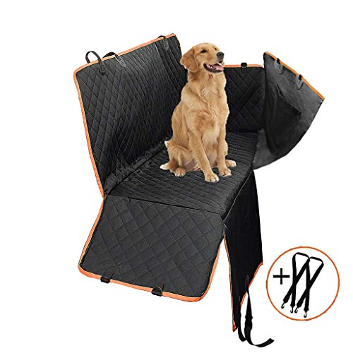 Paercute Dog Car Seat Covers Pet Seat Cover – Hammock 600D Heavy Duty Scratch Proof Nonslip Water Resistant Durable Soft Pet Back Seat Covers with Side Flaps for Cars Trucks and SUVs