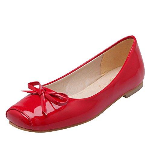 Schuhe süßer Court Carolbar rot Frauen Loafer quadratische Bogen Zehe flache reizender zg5qg8p