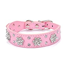 Adjustable Pet Dog Leash Pet Collars Necklace Rhinestone Bling Flower Studded PU Leather Dog Collar for Small and Medium Dogs (Pink)