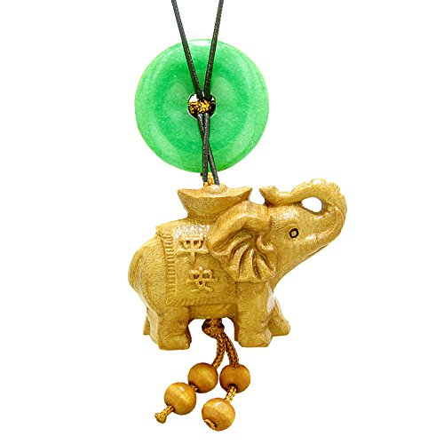 Good Luck Elephant Money Ingot Car Charm or Home Decor Green Quartz Lucky Coin Donut Protection ()