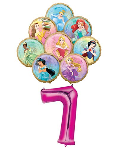 Disney Princess Birthday Balloons (Disney Princess 7 Year Old Birthday Balloon Bouquet Bundle, 8 Princesses, Includes 9 Foil)