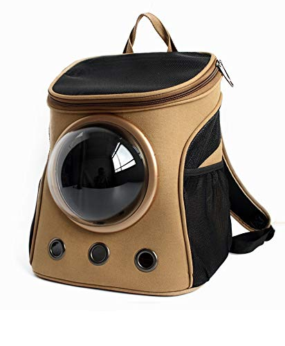 Khaki KTYX Pet Backpack Canvas Space Outdoor Pet Cabin Backpack Lightweight Breathable Shoulder Portable Pet Supplies (color   Khaki)
