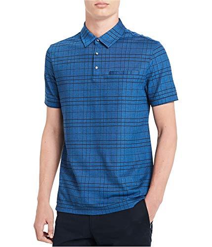Calvin Klein Mens Liquid Touch Striped Knit Rugby Polo Shirt, Blue, - Shirt Klein Calvin Striped Polo