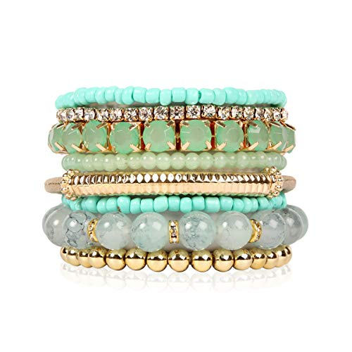 RIAH FASHION Multi Color Stretch Beaded Stackable Bracelets - Layering Bead Strand Statement Bangles (Original - Mint, 7)