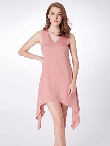 Mousseline Mode Vneck Femmes Alisapan Robes Décontractées 04040 Rose