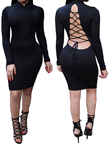 Women Sexy Hi Neck Long Sleeve Lace Up Backless Clubwear Party (Cheap Party Outfits For Womens)