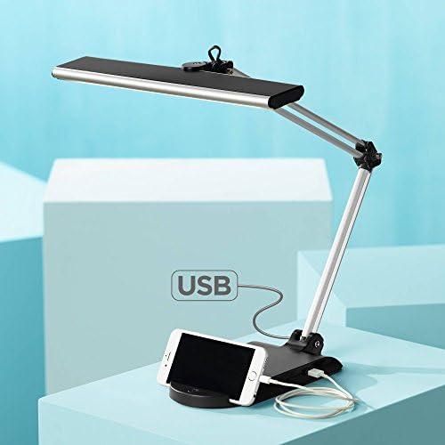Flynn Modern Desk Lamp with USB Port and Phone Cradle Metallic Black and Silver Adjustable Swivel LED for Bedroom Bedside Office – 360 Lighting