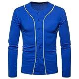 iZHH Mens T-Shirt Short Sleeve Top Blouse Autumn Winter Button Casual V-Neck Solid(Blue,US-XL)