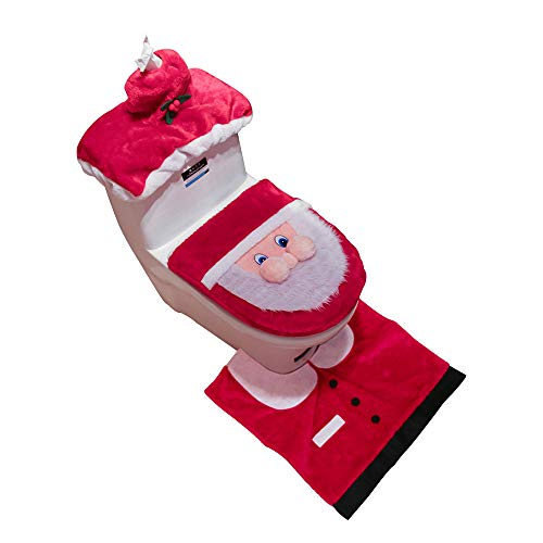 3PCS Fancy Santa Toilet Seat Cover and Rug Bathroom Set Christmas Decor