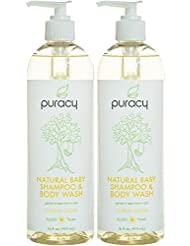 Puracy Natural Baby Shampoo & Body Wash, Tear-Free Soap, Sulfate-Free Bubble Bath, 16 Ounce, (Pack of 2)