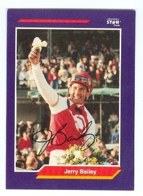Jerry Bailey autographed trading card (Horse Racing Hall of Famer) 1992 Jockey star cards -