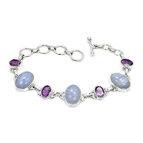 Blue Lace Agate, Amethyst Bracelet Sterling Silver Bracelet, Adjustable From 6