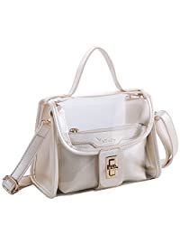 kilofly Women's 2-in-1 Top Handle Clear Transparent Bag Shoulder Crossbody Purse