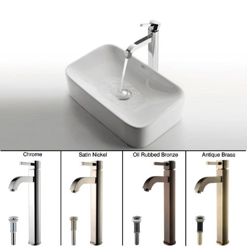picture of Kraus C-KCV-122-1007CH White Rectangular Ceramic Sink and Ramus Faucet, Chrome
