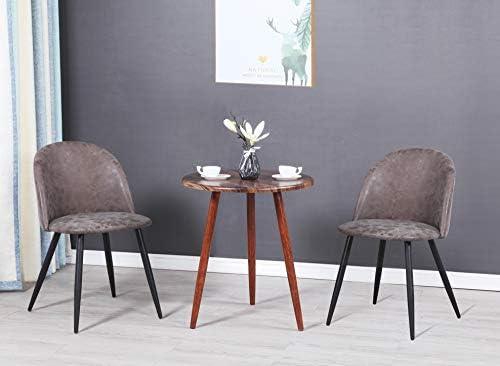MEUBLE COSY Lot de 2 Chaise de Salle à Manger Vintage Marron Chaise de Bureau Ergonomique Pieds Métal avec Finition Noire , /49 x 53 x 77,5 cm
