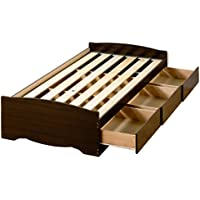 Prepac Espresso Twin XL /Mates XL Platform Storage Bed (3-drawers)
