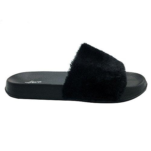 Funkymonkey Comfort Fur Cute Sandals Fuzzy Slides Black Faux Women's Slippers Flat f4qg4rOpc