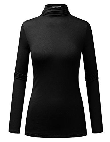 BIADANI Women Long Sleeve Jersey Lightweight Turtleneck T-Shirt Top