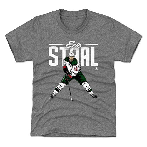 (500 LEVEL Eric Staal Minnesota Wild Youth Shirt (Kids Small (6-7Y), Tri Gray) - Eric Staal Retro G WHT)