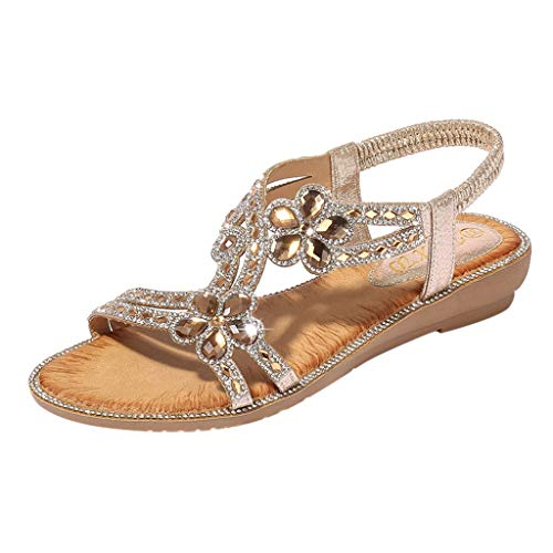 - Boomboom Bohemia Women Bling Flower Crystal Flat Sandals Summer Beach Casual Shoes (Gold,US 8)