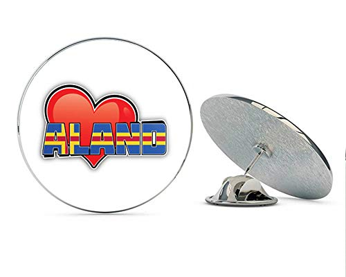 Aland Art Heart Flag Travel Slogan Round Metal 0.75