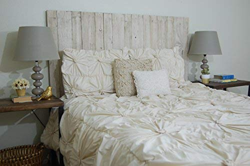 Whitewash Headboard Twin Size Weathered, Hanger Style, Handcrafted. Mounts on Wall. Easy Installation ()
