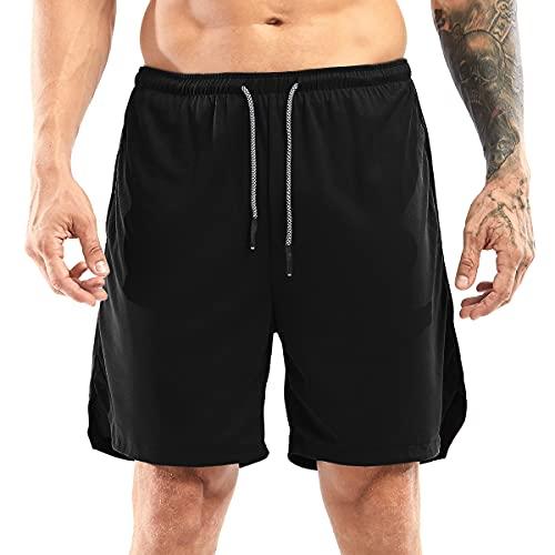 Yidarton Shorts Herren Sport Sommer 2 in 27 Kurze Hosen Schnelltrocknende Laufshorts Fitness Joggen und Training Sporthose mit Tasch
