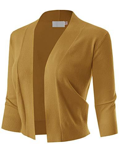 MAYSIX APPAREL Womens 3/4 Sleeve Solid Open Bolero Cropped Cardigan MUSTARD L