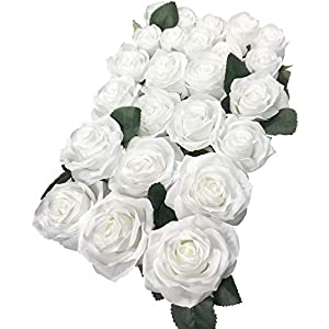 DALAMODA Artificial Silk Flowers Rose Heads DIY for Wedding Bridesmaid Bridal Bouquets Bridegroom Groom Men's Boutonniere and Corsage,Shower Party Home Decorations 24pcs (Whie) 27