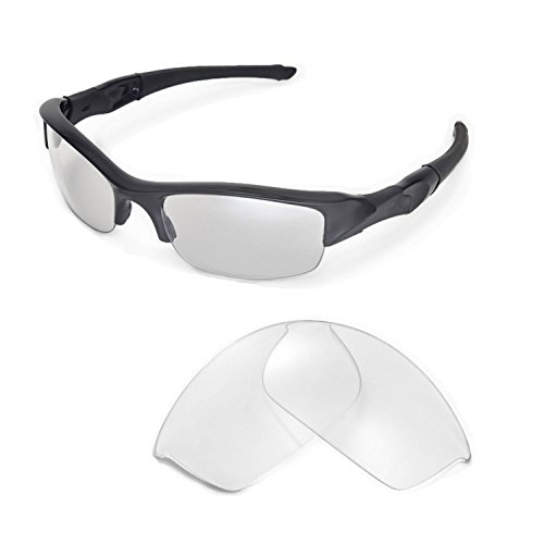 Walleva Replacement Lenses for Oakley Flak Jacket Sunglasses -Multiple Options Available - Clear Polarized Lenses