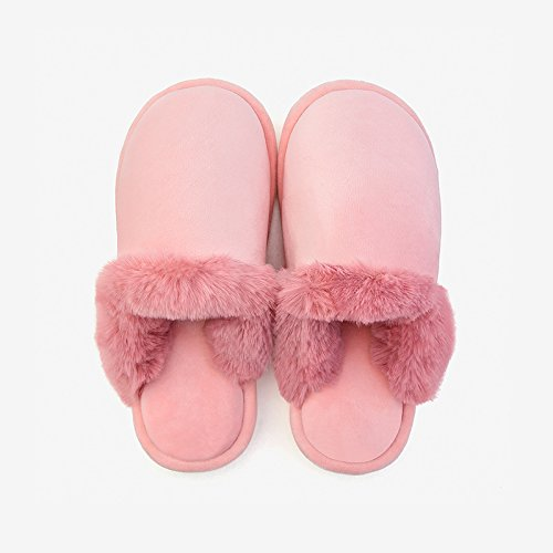 LaxBa Femmes Hommes chauds dhiver Chaussons peluche antiglisse intérieur Cotton-Padded Chaussures Slipper poudre nu m44-45
