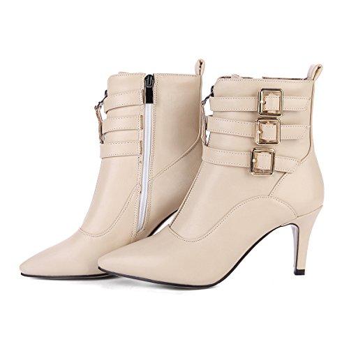 YE Damen Ankle Boots Stiletto High Heels Spitze Stiefeletten mit  Reißverschluss und Schnallen 8cm Absatz Elegant ... fc185a3f77