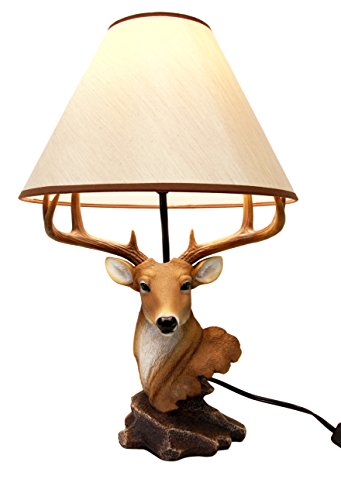 Bust Lamp - Atlantic Collectibles Vintage 8 Point Buck Deer Bust Desktop Table Lamp Statue Decor With Shade