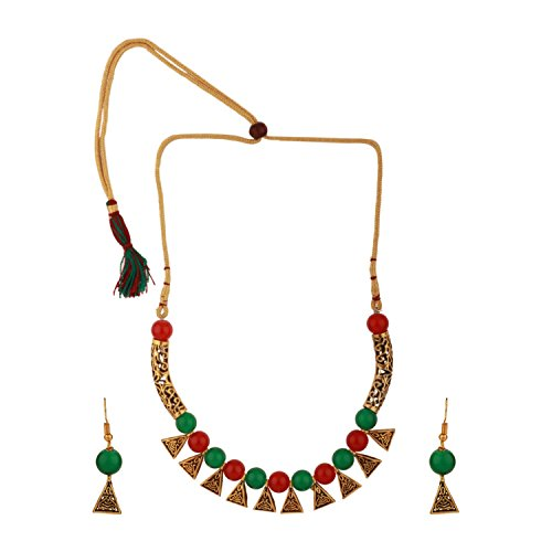 Efulgenz Boho Traditional Indian Oxidized Crystal Multicolor Pearl Beaded Vintage Tribal Statement Choker Necklace Earring Jewelry Set ()