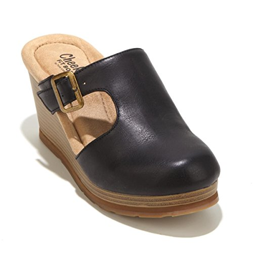 Tony Little Cheeks Cutout Buckle Comfort Clog 499-383 Black uy6ZNUZt