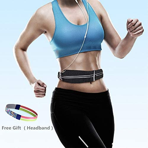 Akbluey Running Belt, Waist Bag, Sports Running Bag, Outdoor Dual Pouch Sweatproof Reflective Waist Pack, Fitness Workout Belt Fanny Pack for Phone X 678 Plus Big Screen Smartphone, Most Models