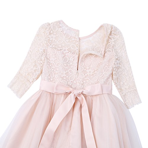 Amazon.com: FEESHOW Floral Lace Flower Girl Dress Half Sleeved First Communion Wedding Bridesmaid Party Prom Gown: Clothing
