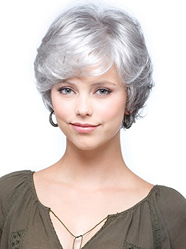 FENCCA Short Curly Wigs for Women Silver Gray Bob Fluffy Hair Wigs Natural Looking Fashion Hair Wigs with Free Wig Cap (G1) FC017