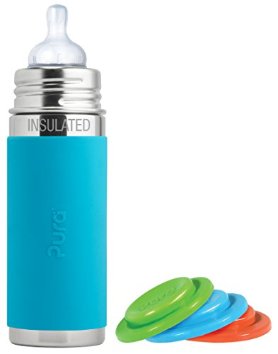 Pura Kiki Stainless Steel Vacuum Insulated Infant Bottle, Aqua, 9 Ounce, Plus Set of 3 Sealing Disks