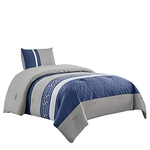 WPM 2 Pieces Embroidered Quilted Goose Down Alternative Comforter (Blue/Grey, Twin) (Navy And Gray Twin Comforter)