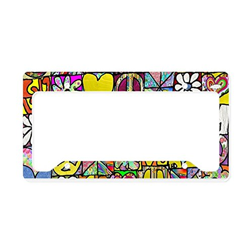- CafePress Psychedelic Shalom Aluminum License Plate Frame, License Tag Holder