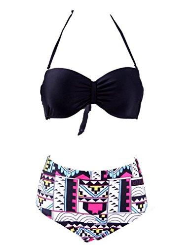 Staringirl Women 50s Pinup Girl Rockabilly High Waist Retro Bikini Swimsuit Set Small Patten 26