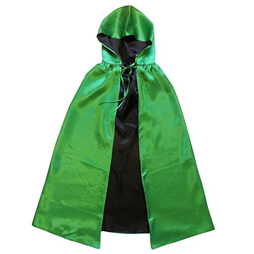 Superhero or Princess REVERSIBLE HOODED CAPE Adult Teen Halloween Costume Cloak (L/XL (54 Inches), Green & (Princess Costumes For Teens)