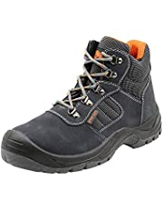 KAM-LITE Suede Leather Work Boots for Men, Steel Toe Cap S1P SRC Oil Resistant Slip on Safety Shoes, Industrial and Construction Ankle Shoes