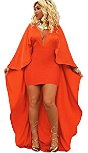Womens Sexy Batwing Sleeve Deep V Neck Bodycon Party Clubwear Cape Cloak Maxi Dress